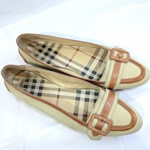Burberry Canvas and Leather Flats